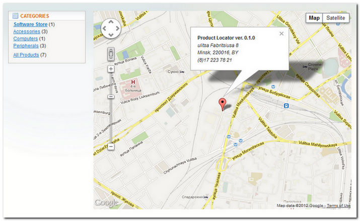 Product Locator - Magento extension for GMaps