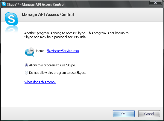 Allow this program to use Skype