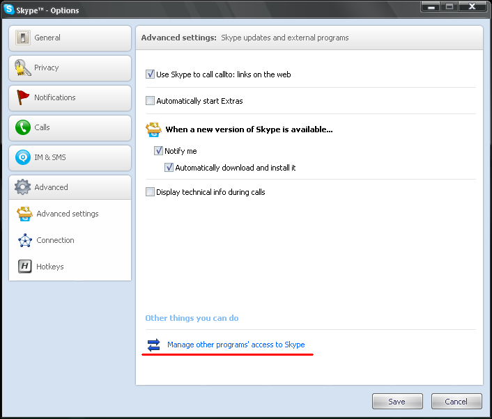 Manage other programs' access to Skype